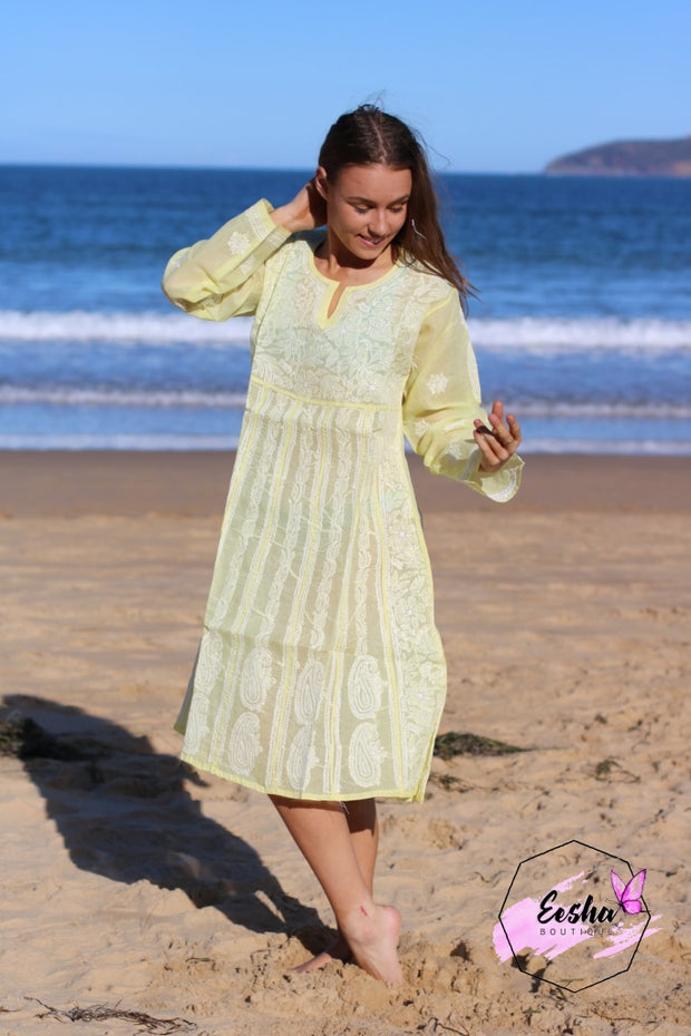 Lime Yellow Cotton Voile Hand Embroidered Dress M-40 / Tunic
