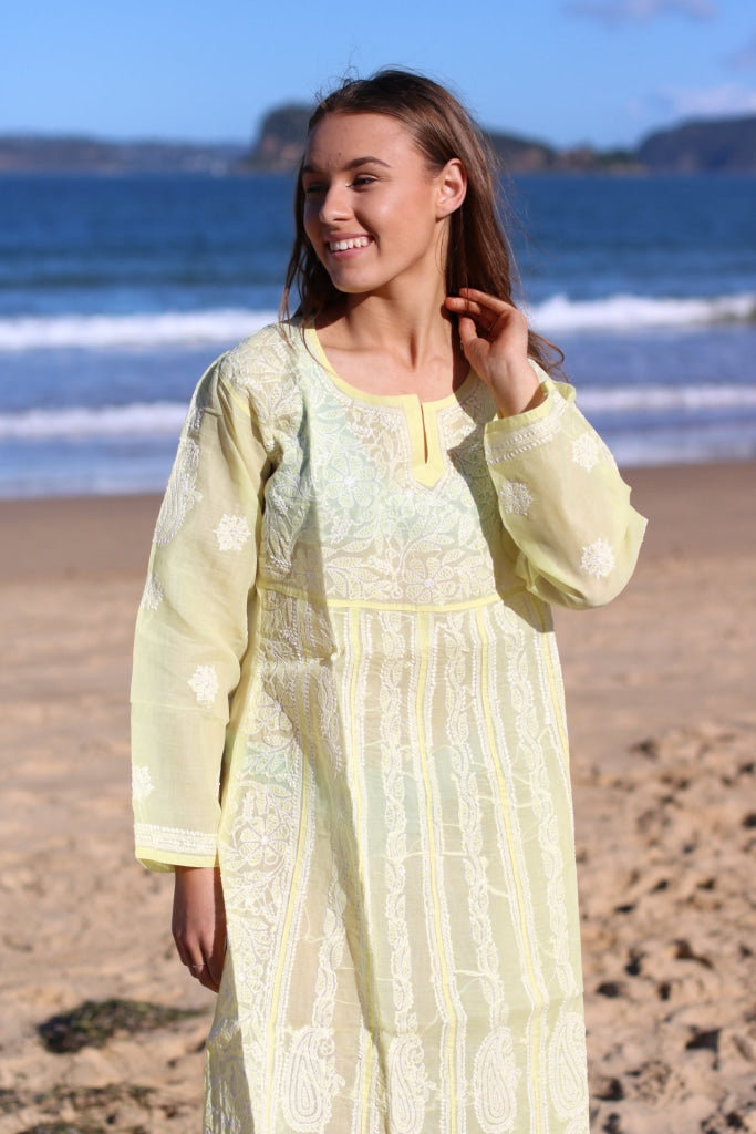 Lime Yellow Cotton Voile Hand Embroidered Dress Tunic