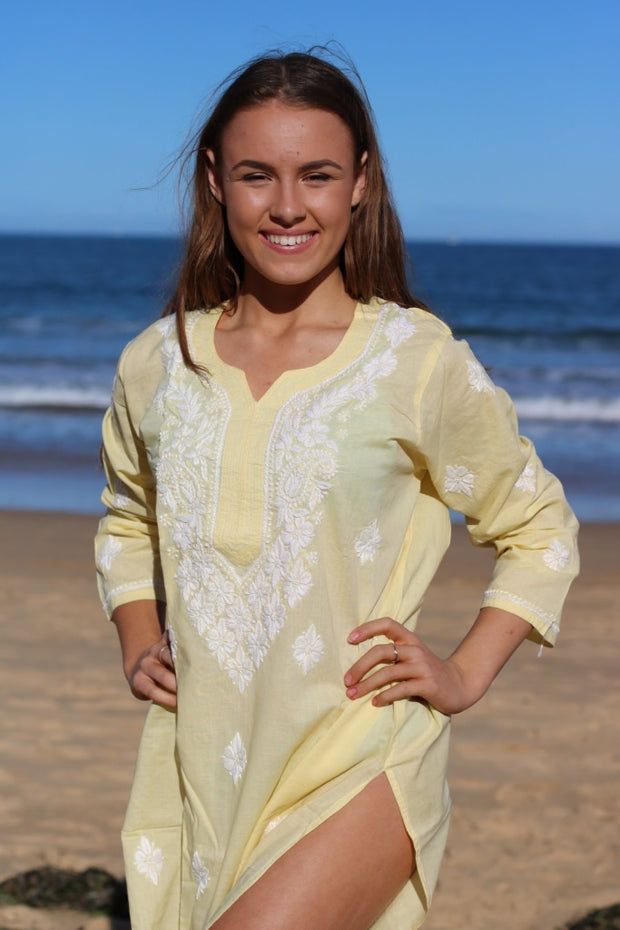 Lime Yellow Hand Embroidered Long Tunic
