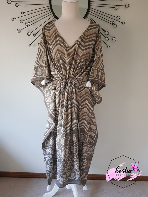 Long Kaftan - Dabu Print With Tussles