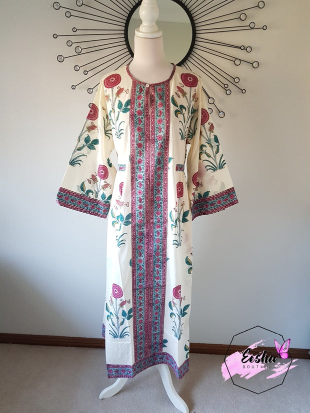 Long Kaftan Dress - Hibiscus