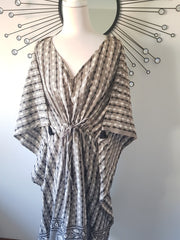 Long Kaftan - Gray Dabuprint With Tussles