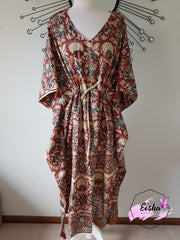 Long Kaftan - Kalamkari Print With Tussles