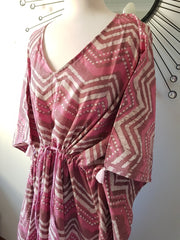 Long Kaftan - Pink Dabbu Print With Tussles