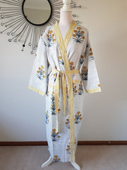 Long Kimono Robe - Yellow Floral Bouquet