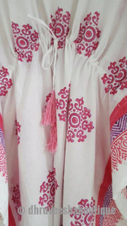 Long Snow Flower Print Pink Kaftan