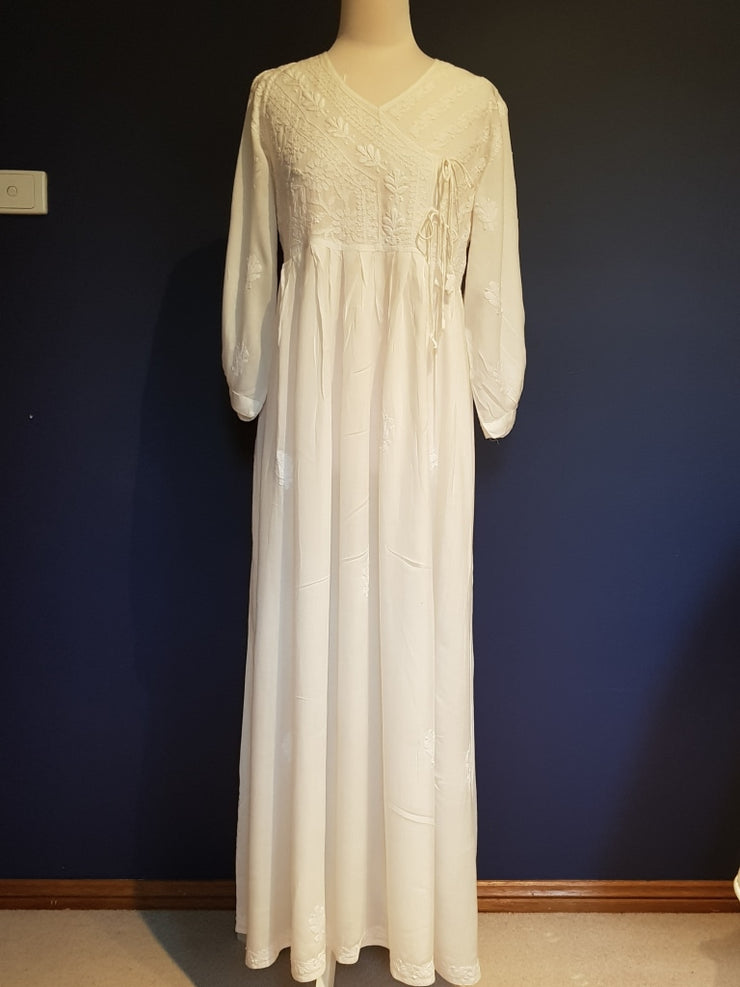 Long White Angharkha Style Dress