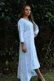Long White Asymmetrical Dress- Indian Chikankari Anarkali Tunic