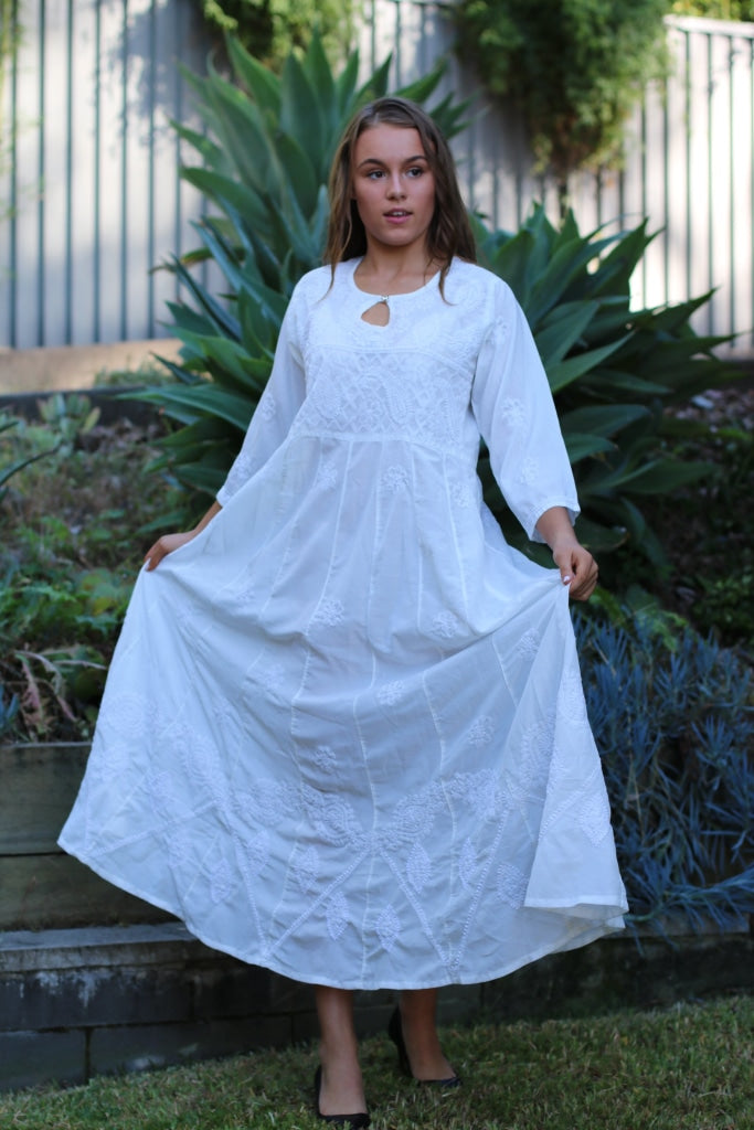 Long White Dress- Indian Chikankari Anarkali Tunic