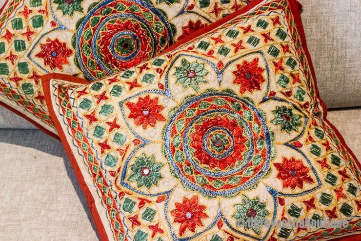 Mirror Embroidered Pillow Cover