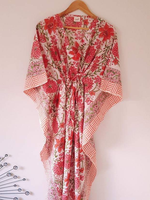 Orange Floral Block Print Organic Cotton Voile Long Kaftan