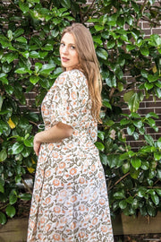 Orange Floral Long Kaftan