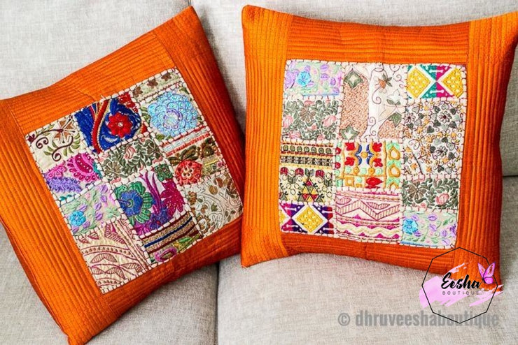 Orange Salma Patch Work Pillow Cover