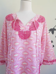 Pink Bell Sleeves Hand Block Print Tunic Kurta With Chikankari Embroidery