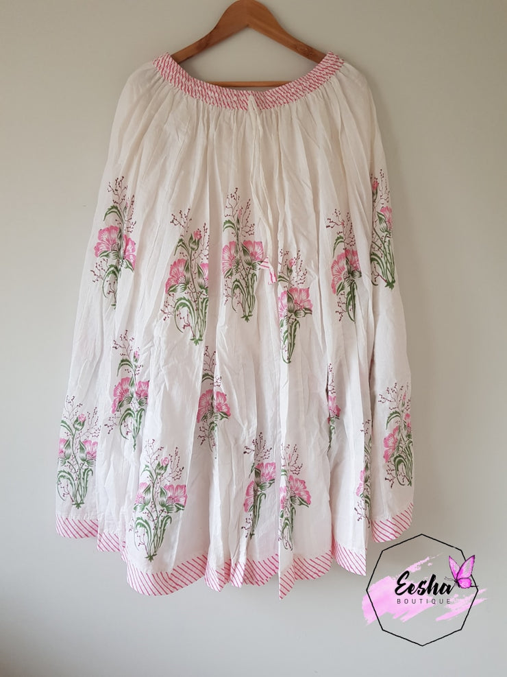 Pink Floral Butti - Hand Block Printed Skirt