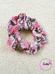 Pink Floral Scrunchies - Hand Block Print Indian Cotton Voile