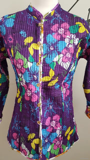 Purple Floral Reversible Cotton Quilted Jacket Coat
