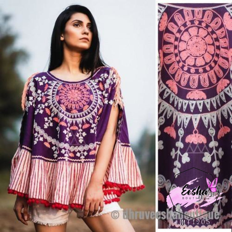 Purple Khadi Poncho With Wool Embroidery