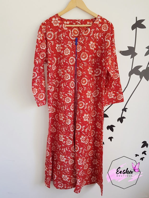 Red Floral Long Kaftan Summer Dress