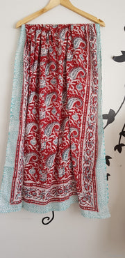 Red Paisley Hand Block Print Sarong Indian Cotton Pareo Stole