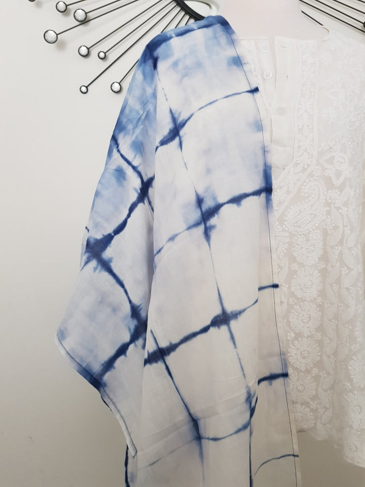 Shibori Tye Dye Indian Organic Cotton Voile Stole