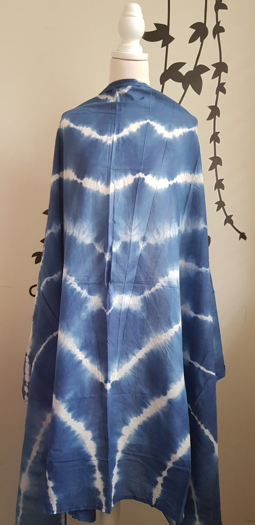 Shibori Tye Dye Sarong Indian Cotton Pareo Blue Stole