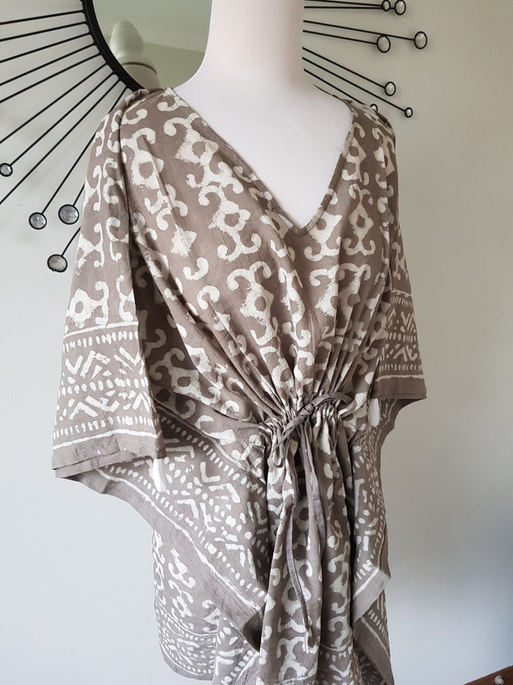 Short Kaftan - Dabbu Print With Tussles