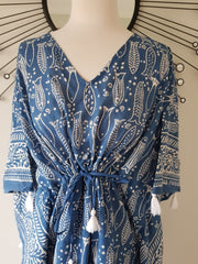 Short Kaftan - Indigo Fish Print With Tussles