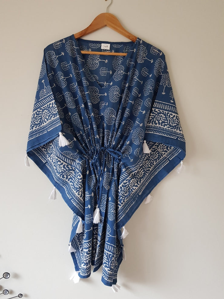 Short Kaftan - Indigo Tree Print With Tussles
