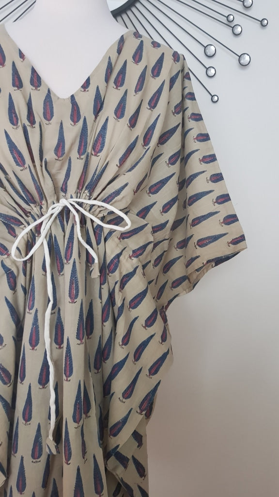 Short Kaftan - Purple Tree Print