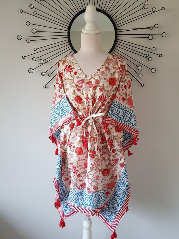 Short Kaftan - Red Floral Print With Tussles