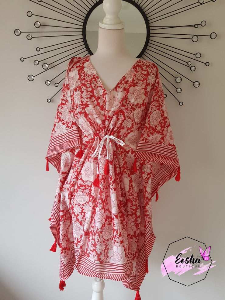 Short Kaftan - Red With Tussles