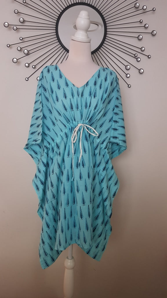 Short Kaftan - Sky Blue Tree Print
