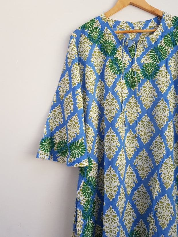 Sky Blue Bell Sleeves Hand Block Print Tunic Kurta With Chikankari Embroidery