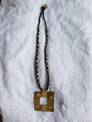 Square Brass Pendant Necklace