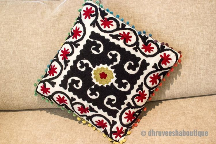 Suzani Floral Embroideried Pillow Cover