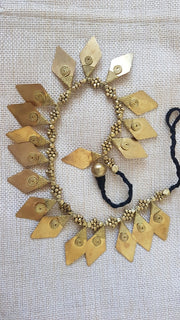 Tribal Leaf Brass Pendant Necklace