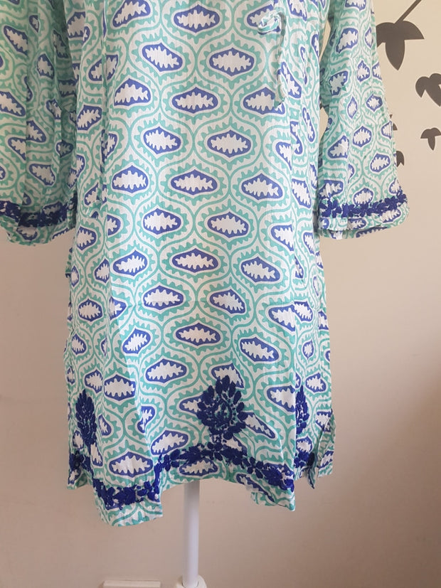 Turquoise Bell Sleeves Hand Block Print Tunic Kurta With Chikankari Embroidery