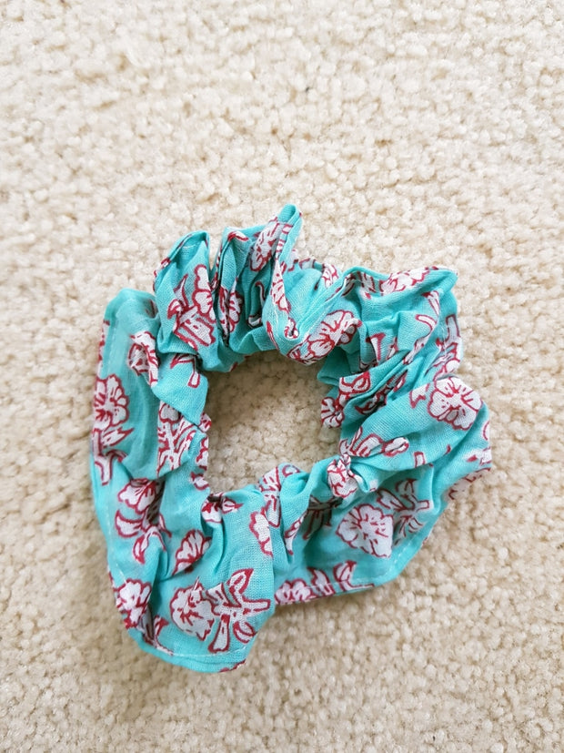 Turquoise Blue Floral Scrunchies - Hand Block Print Indian Cotton Voile