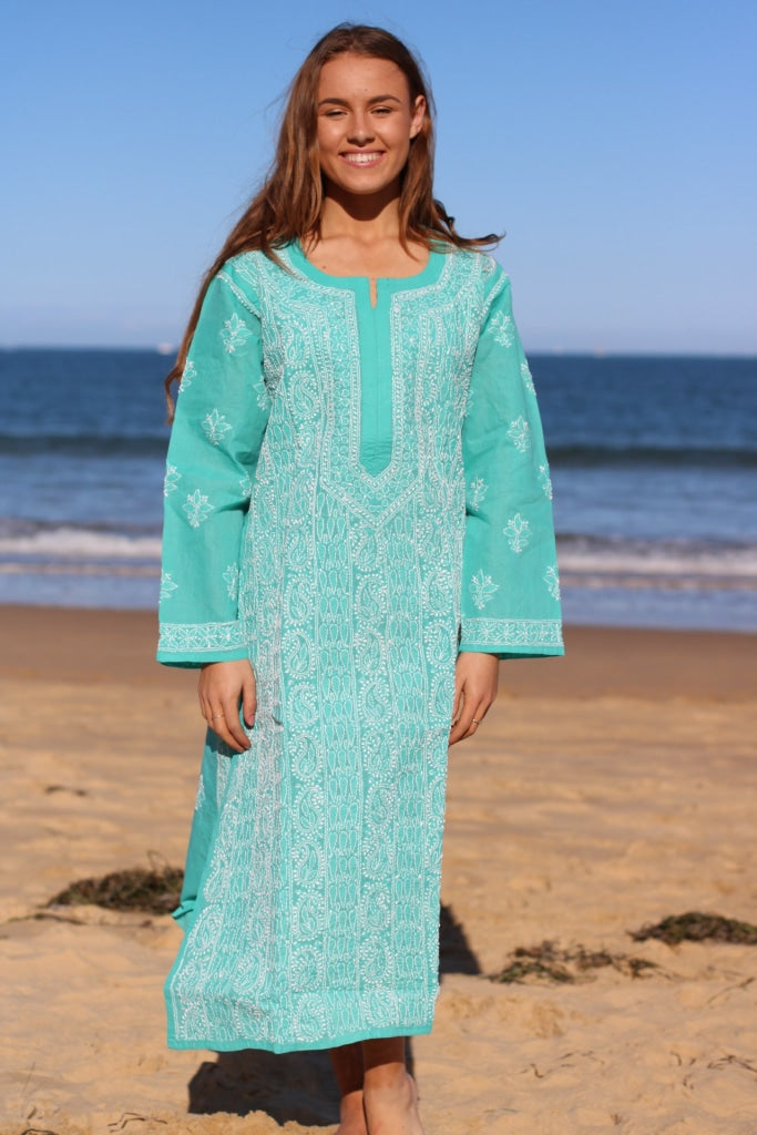 Turquoise Hand Embroidered Long Tunic