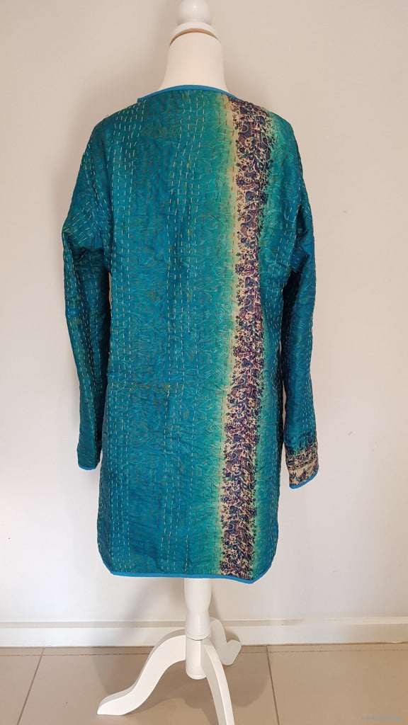 Vintage 100% Silk Kantha Reversable Long Coat Jacket