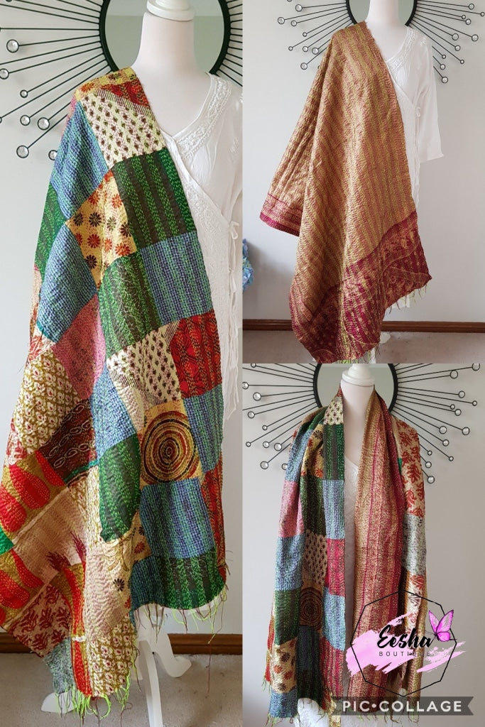 Vintage Double Sided Patchwork Silk Kantha Stole Dupatta