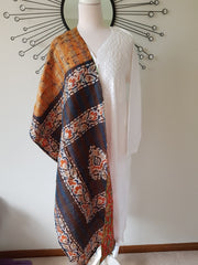 Vintage Double Sided Silk Kantha Scarf Stole