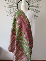 Vintage Double Sided Silk Kantha Stole Dupatta