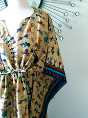 Vintage Silk Long Kaftan - Tribal