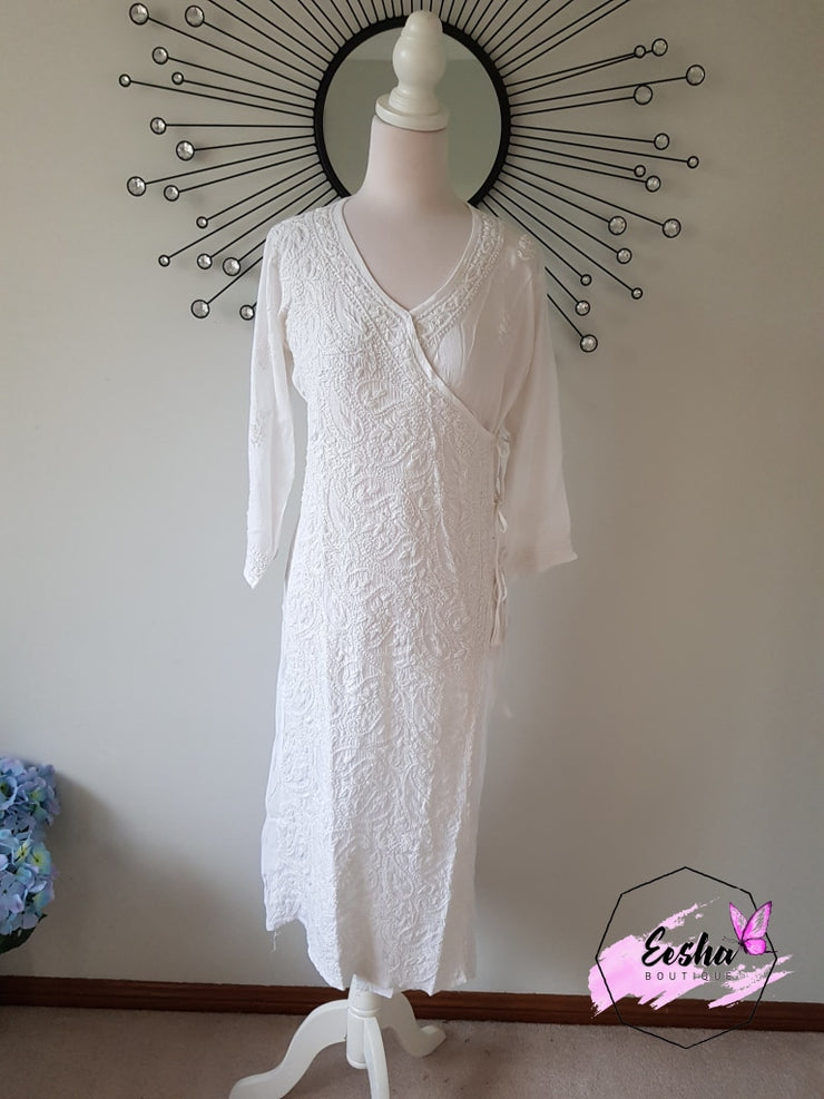 White Angarkha Style Long Hand Embroidered Tunic Kurta