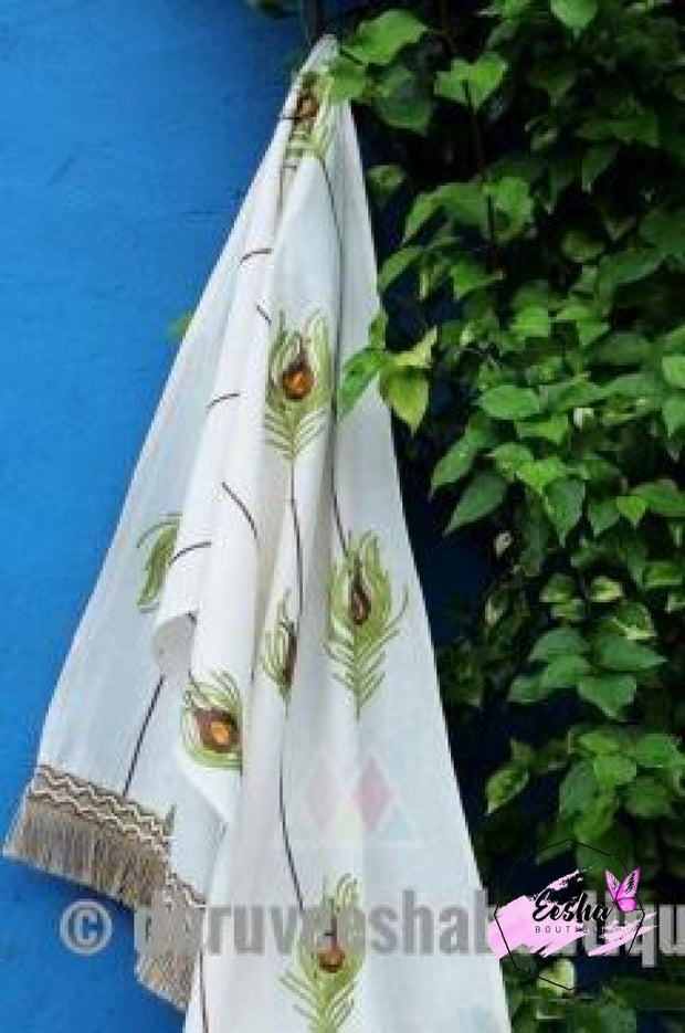 White Color Pure Khadi Embroidered Stole