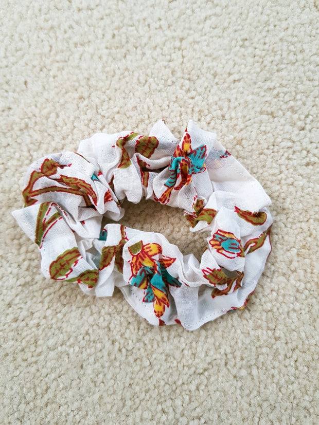 White Floral Scrunchies - Hand Block Print Indian Cotton Voile