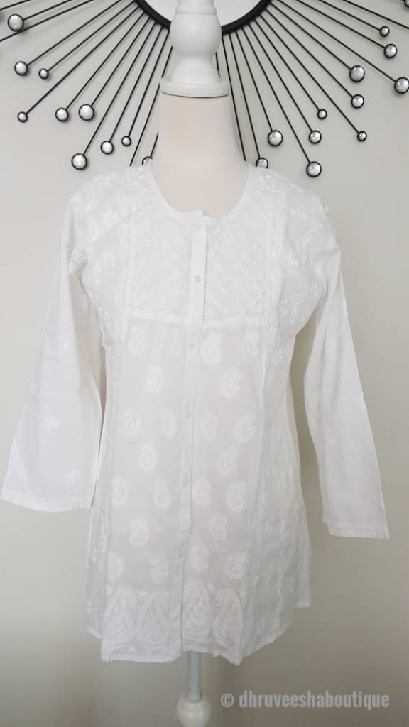 White Hand Embroidered Short Tunic