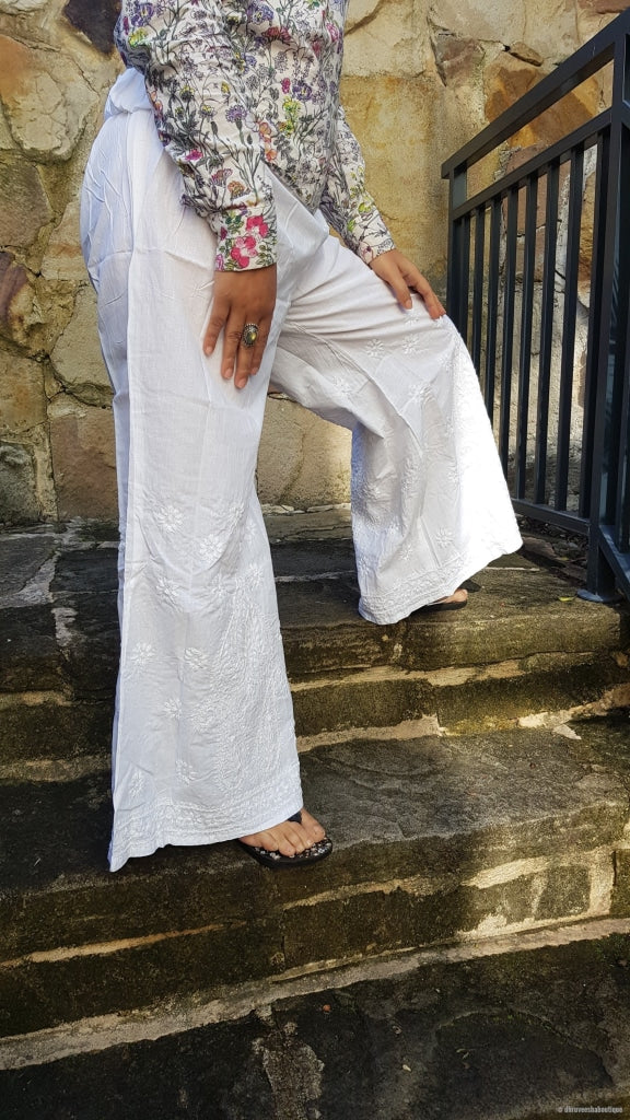 White Hand Embroidery Palazzo Pants